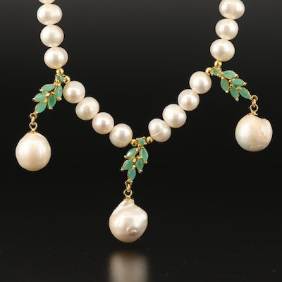 Sterling Pearl and Emerald Necklace
