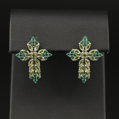 Sterling Peridot and Cubic Zirconia Cross Earrings