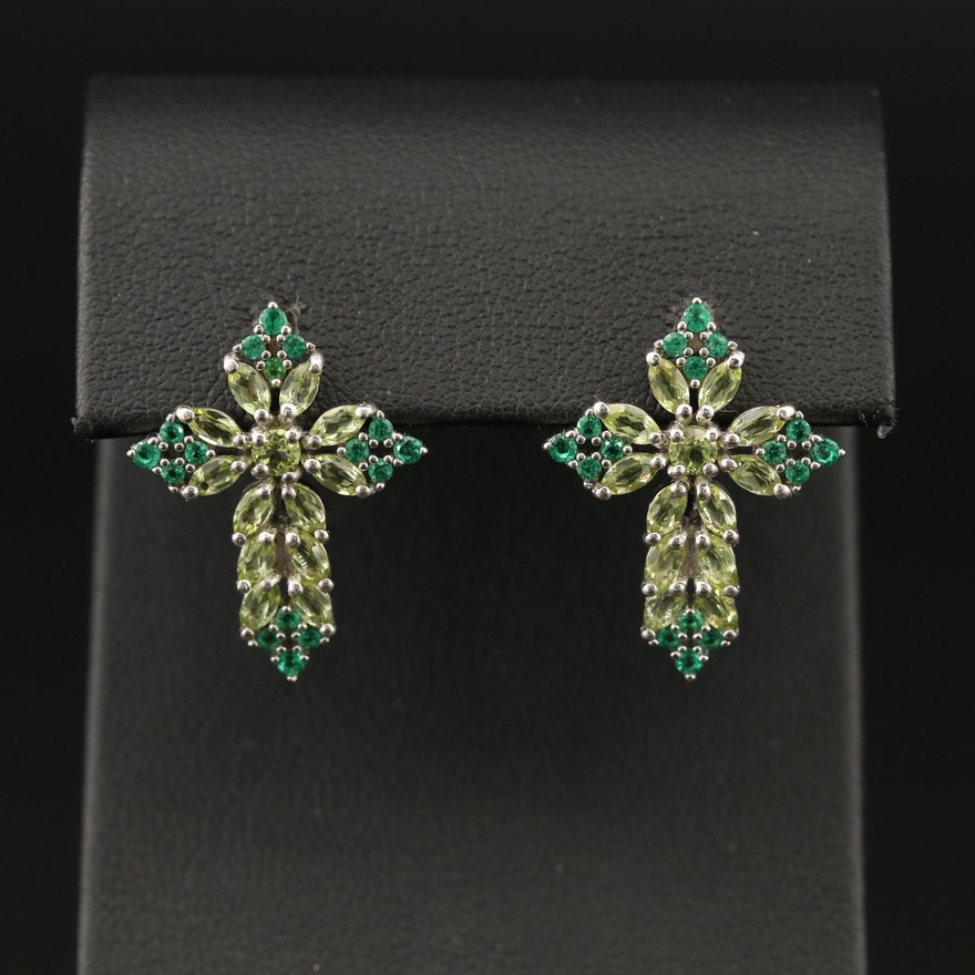 Sterling Peridot and Cubic Zirconia Cross Earrings