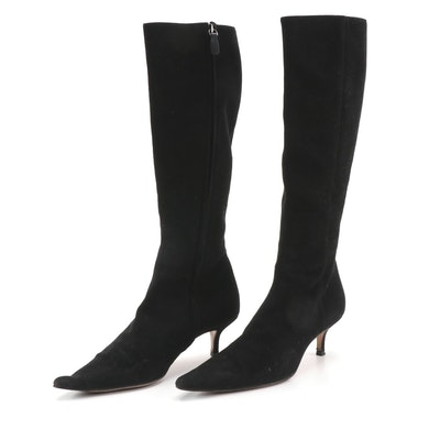 Emma Hope Knee-High Boots in Black Suede