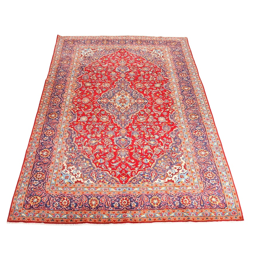 7'11 x 12'9 Hand-Knotted Persian Kashan Rug, 1970s