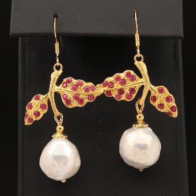 Sterling Pearl and Corundum Leaves Dangle Earrings
