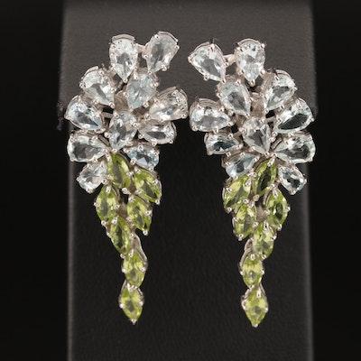 Sterling Goshenite and Peridot Cluster Drop Earrings