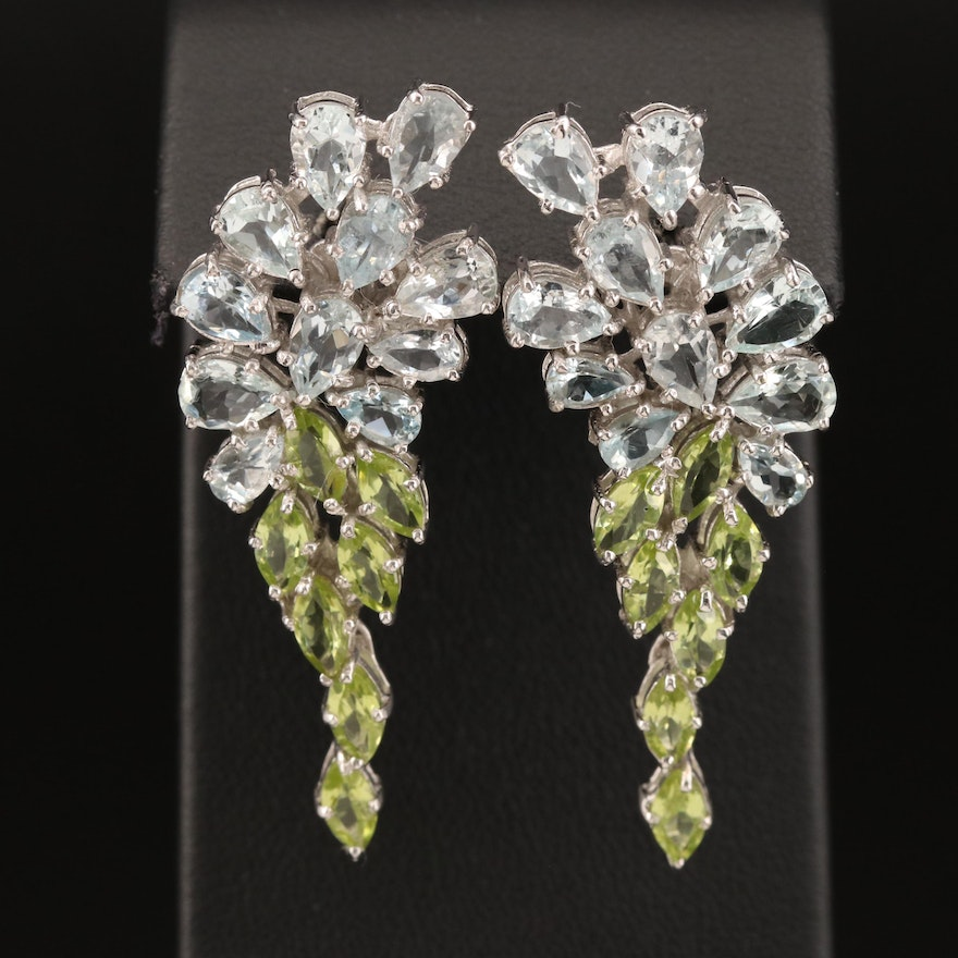 Sterling Goshenite and Peridot Cluster Drop Earrings