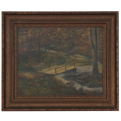Oil Painting of Forest Road with Bridge, Late 19th-Early 20th Century