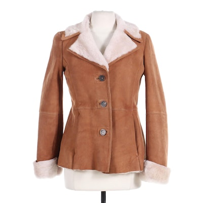 Talbots Sheepskin Shearling Button-Front Coat