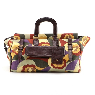 Yves Saint Laurent Printed Canvas and Brown Grained Leather Travel Bag