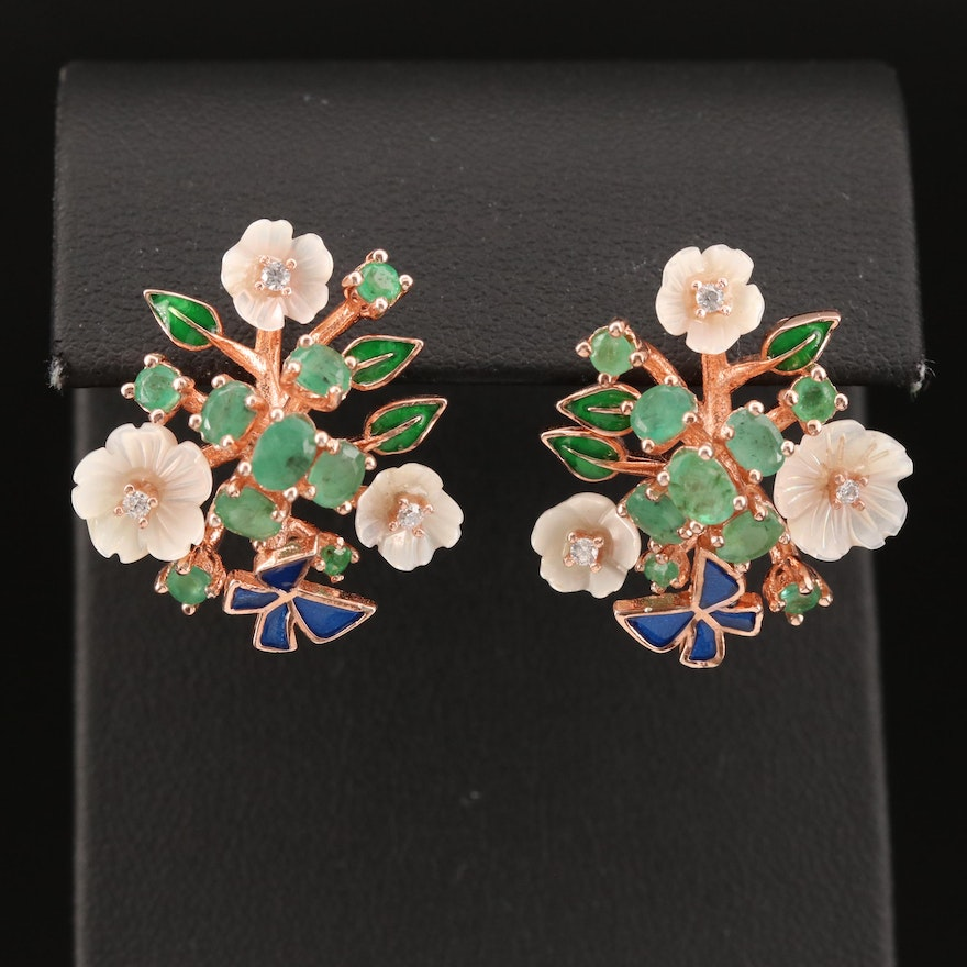 Sterling Emerald and Cubic Zirconia Flower Button Earrings