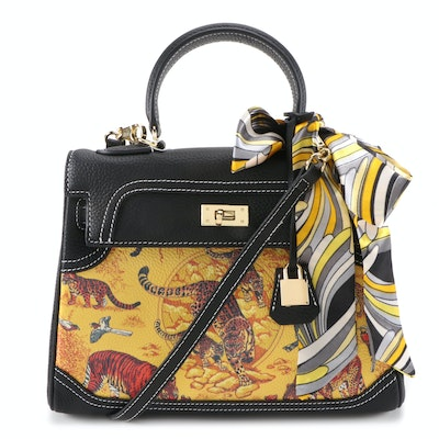 Italian Printed Leather Structured Satchel with Twilly Scarf from Eileen Kramer