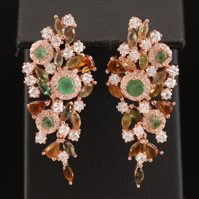 Sterling Emerald, Tourmaline and Cubic Zirconia Dangle Earrings