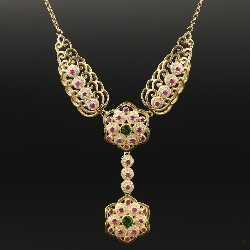 Sterling Silver Diopside, Ruby ad Cubic Zirconia Necklace