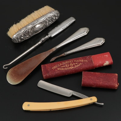 J.R. Torrey Straight Razor, Webster and Other Sterling Handle Vanity Tools