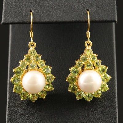 Sterling Silver Pearl and Peridot Drop Earrings