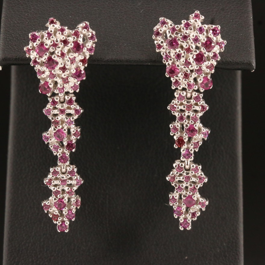 Sterling Silver Garnet Cluster Earrings