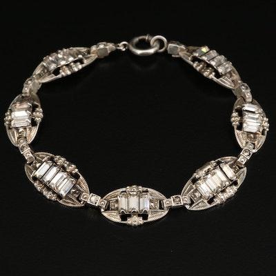 Circa 1930 Sterling Rhinestone Bracelet