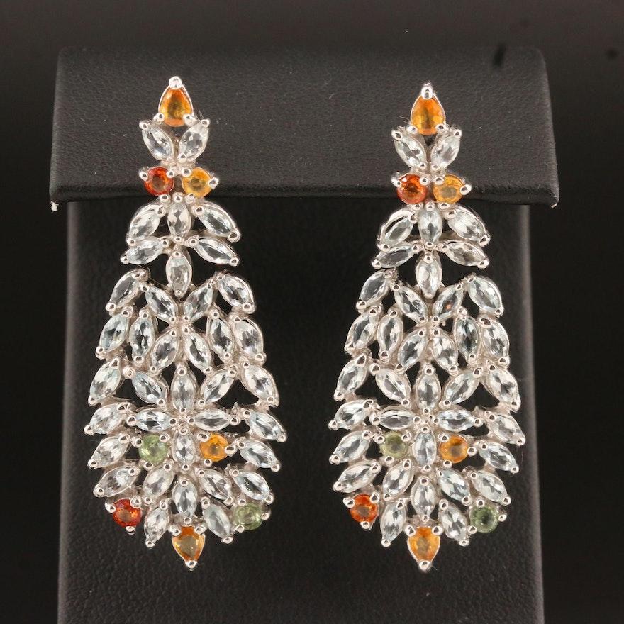 Sterling Goshenite and Sapphire Cluster Dangle Earrings