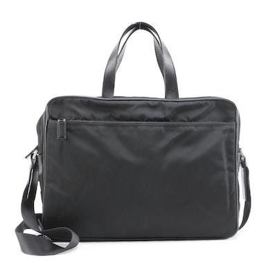 Prada Black Nylon and Saffiano Leather Business Bag