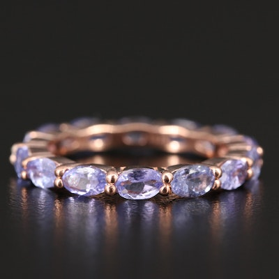 Sterling Silver Tanzanite Eternity Band