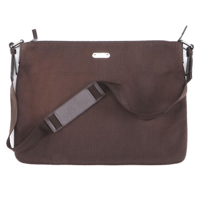 Gucci Messenger Bag in Dark Brown Cotton Woven Canvas with Leather Accents