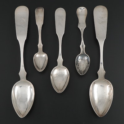 American Coin Silver Fiddle Handle Spoons, 19th Century