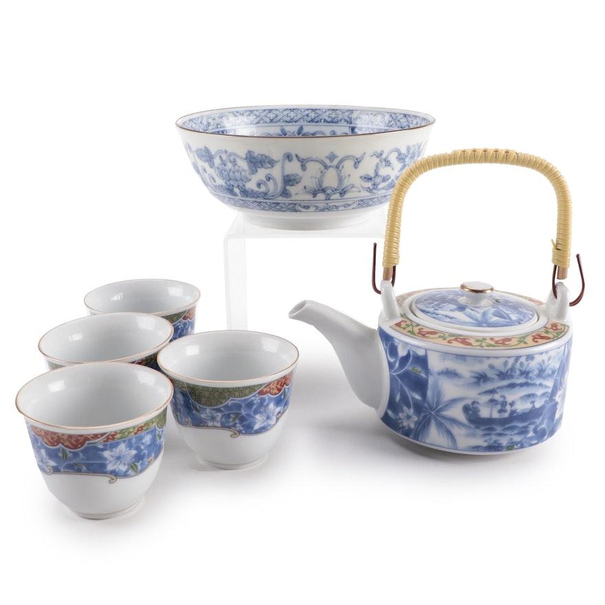 Japanese Porcelain Tea Set with Floral Motif Porcelain Bowl
