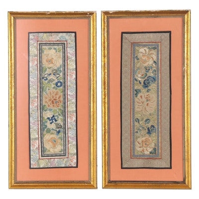 Chinese Hand-Embroidered Silk Sleeve Bands, Early to Mid-20th Century