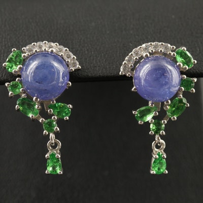 Sterling Silver Tanzanite, Diopside and Cubic Zirconia Earrings