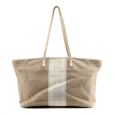 Fendi Hemp Tote with White Leather Accents