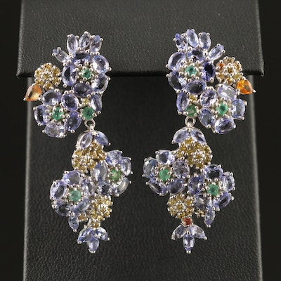 Sterling Tanzanite, Emerald and Sapphire Drop Earrings