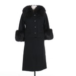 Bonniecraft Black Wool Jacket with Fox Fur-Trim and Pencil Skirt Set, Vintage