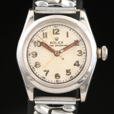 1946 Rolex Oyster SpeedKing Stainless Steel Stem Wind Wristwatch