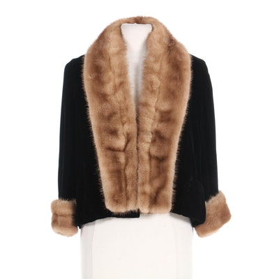 Black Velvet Open-Front Jacket with Pastel Mink Fur Trim, Mid-20th Century