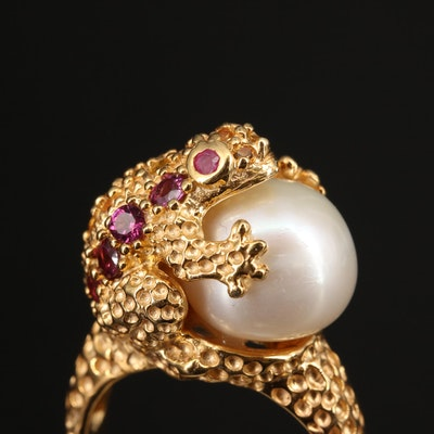 Sterling Silver Frog Ring Featuring Pearl, Ruby and Garnet