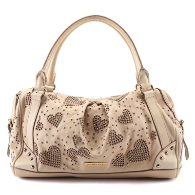 Burberry Heart Studded Satchel in Beige Calfskin Leather