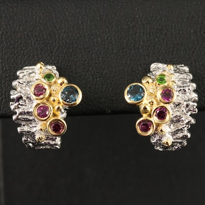 Sterling Silver Topaz, Garnet and Diopside Cluster Earrings