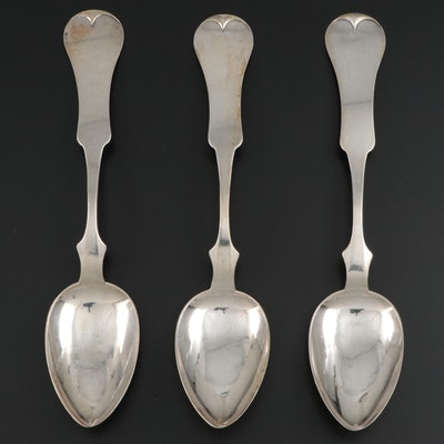 H.R. Holman Coin Silver Fiddle Handle Serving Spoons, Mid-19th Century
