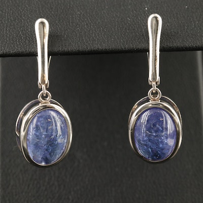 Sterling Silver Bezel Set Tanzanite Dangle Earrings