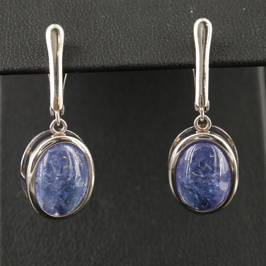 Sterling Silver Bezel Set Tanzanite Dangle Earrings