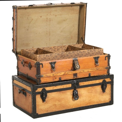 Set of Stacking Flat-Top Steamer Trunks, Antique