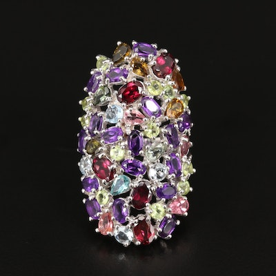 Sterling Silver Peridot, Garnet and Amethyst Cluster Pointer Ring