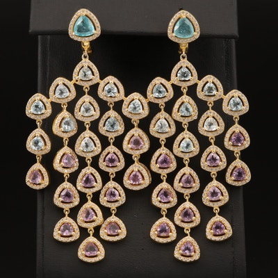 Sterling Topaz, Amethyst and Cubic Zirconia Chandelier Earrings