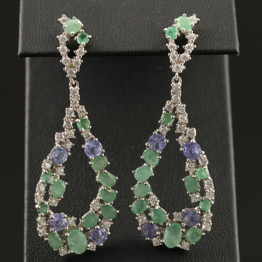 Sterling Silver Emerald, Tanzanite and Cubic Zirconia Cluster Dangle Earrings