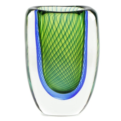 Kosta Boda Blue and Green Optic Art Glass Vase Designed by Vicke Lindstrand