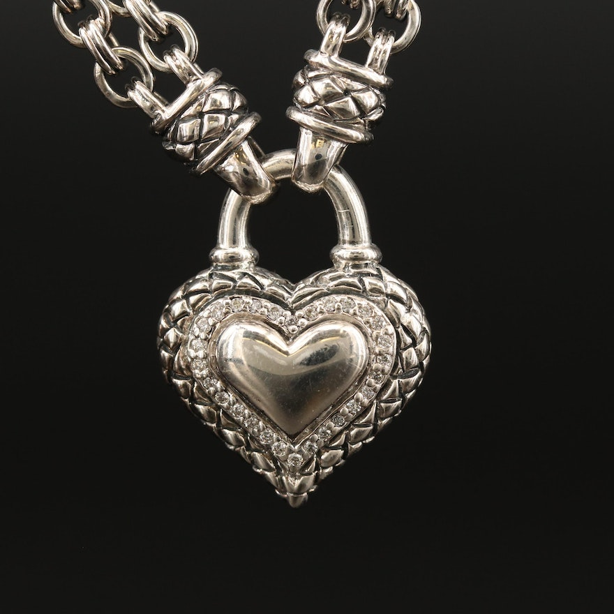 Scott Kay Sterling Silver Diamond Stationary Heart Pendant Necklace