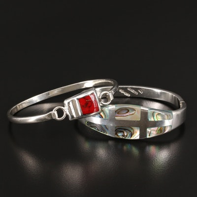 Sterling Silver Abalone and Reconstituted Stone Bangles