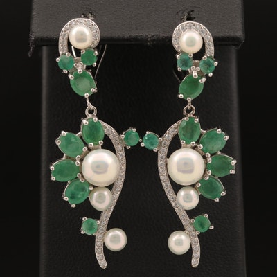 Sterling Pearl, Emerald and Cubic Zirconia Dangle Earrings