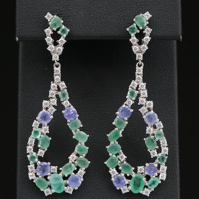 Sterling Silver Emerald, Tanzanite and Cubic Zirconia Tear Drop Dangle Earrings