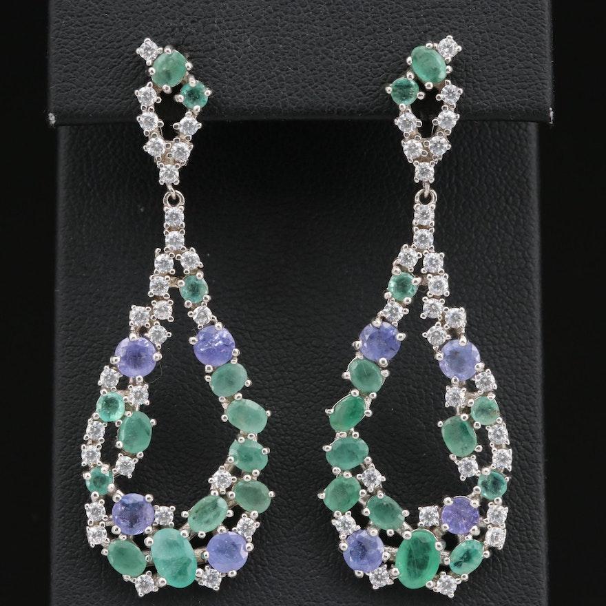 Sterling Silver Emerald, Tanzanite and Cubic Zirconia Tear Drop Dangle Earrings