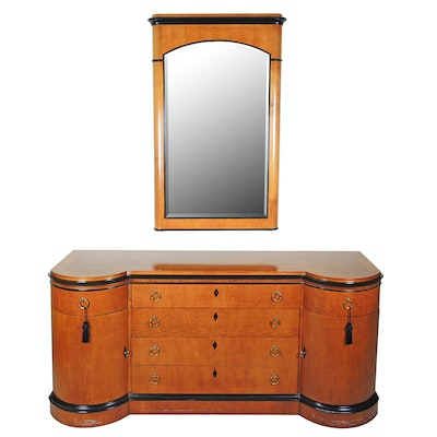 Biedermeier Style Maple Sideboard with Wall Mirror, Late 20th Century