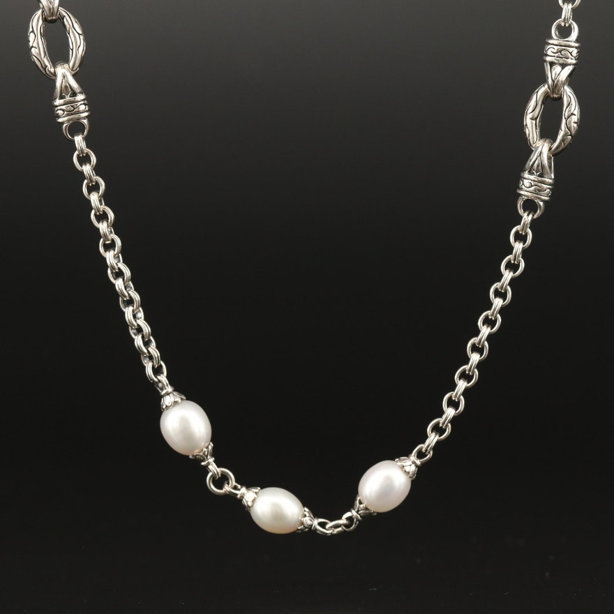 Scott Kay Sterling Silver Pearl Rope Necklace